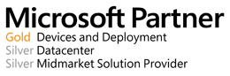 Microsoft Partner Gold Devices and Deployment, Datacenter Silver, Silver Midmarket Solution Provider.